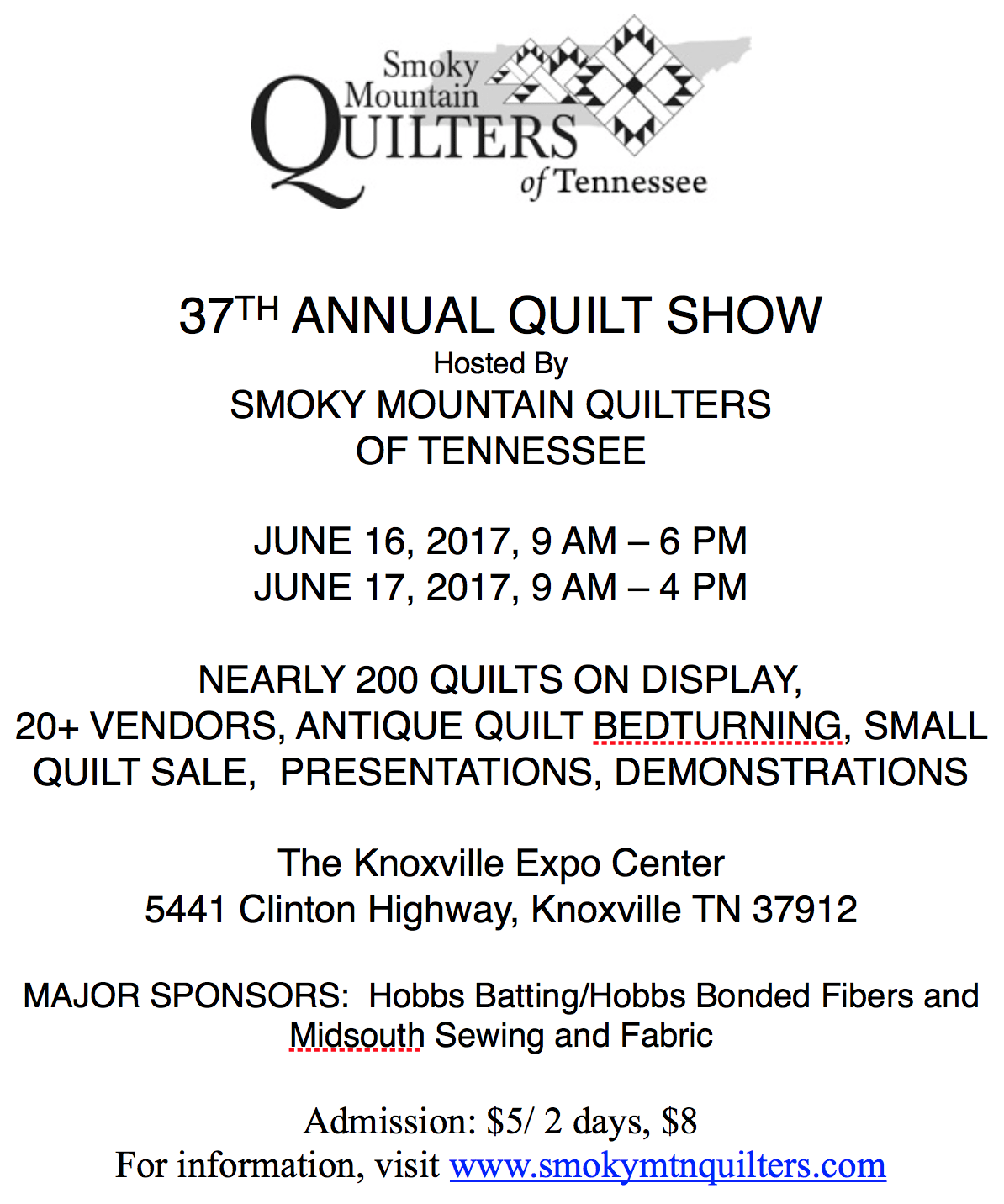 Smoky Mountain Quilt Show 2017 | Knoxville Expo Center : smoky mountain quilt show - Adamdwight.com